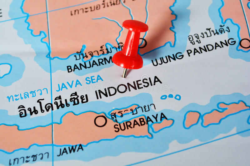 Indonesia map. Macro shot of Indonesia map with push pin royalty free stock image