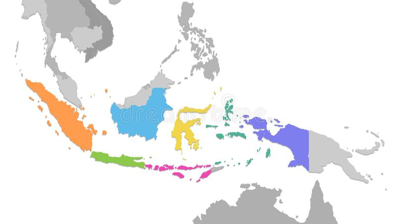 Indonesia map, new political detailed map, separate individual states, with state names, isolated on white background 3D blank. Vector royalty free illustration