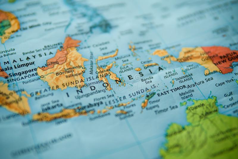 Indonesia on a map. Selective focus on label stock image