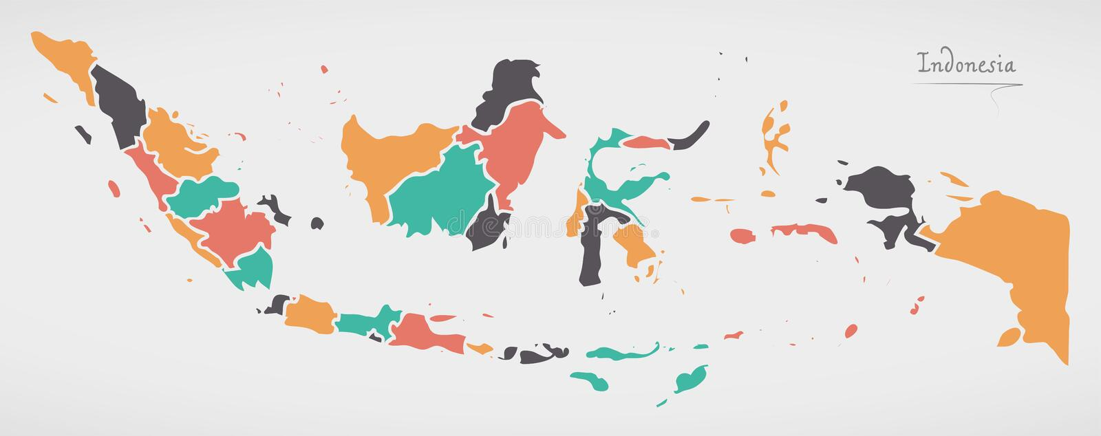 Indonesia Map with states and modern round shapes stock illustration