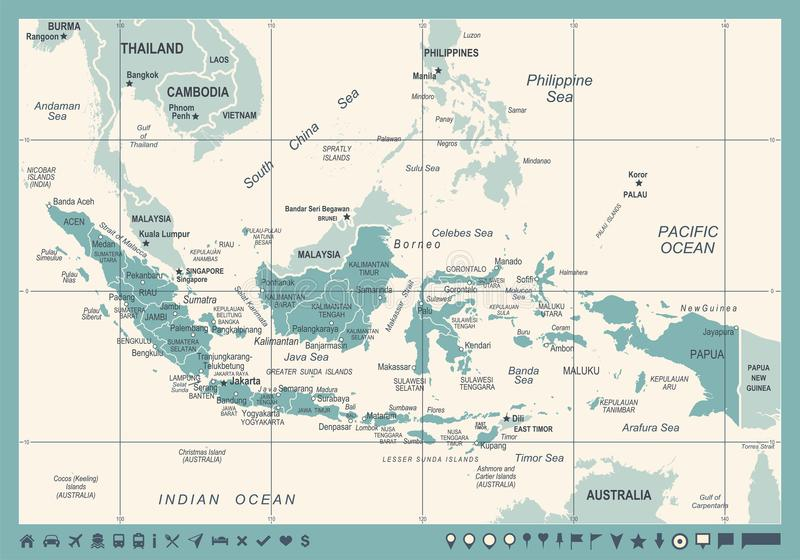 Indonesia map vintage vector illustration stock illustration download indonesia map vintage vector illustration stock illustration illustration of illustration bekasi gumiabroncs Gallery