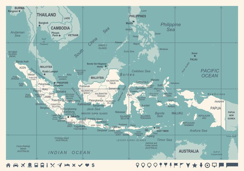 Indonesia map vintage vector illustration stock illustration download indonesia map vintage vector illustration stock illustration illustration of medan indonesian gumiabroncs Gallery