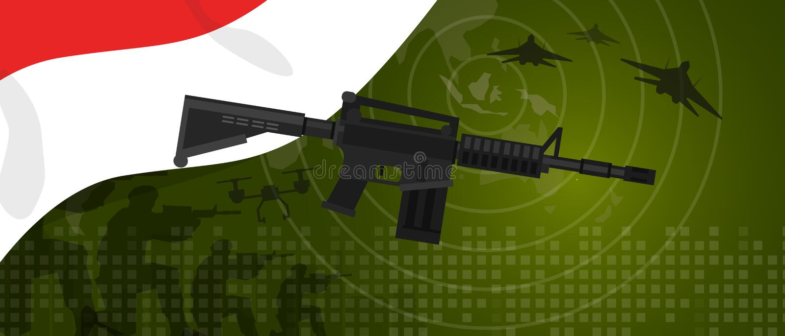 Indonesia military power army defense industry war and fight country national celebration with gun soldier jet fighter. And radar vector vector illustration