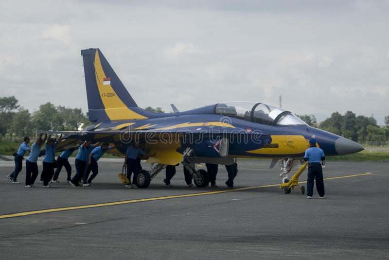 INDONESIA NEW AIR FORCE JET FIGHTER PROPOSALS. Indonesian Air Force's T-50i jet fighters at Adi Soemarmo Airbase in Solo, Java, Indonesia. French company royalty free stock image
