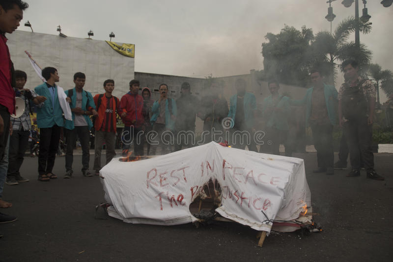 INDONESIA NEW FUEL. A protest held by college students on the government's decision to raise the price of subsidized fuel Premium, at Kartasura, Sukoharjo, Java royalty free stock image