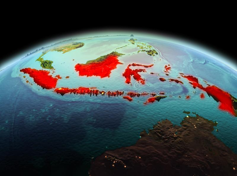 Indonesia on planet Earth in space. Morning above Indonesia highlighted in red on model of planet Earth in space. 3D illustration. Elements of this image royalty free stock photography