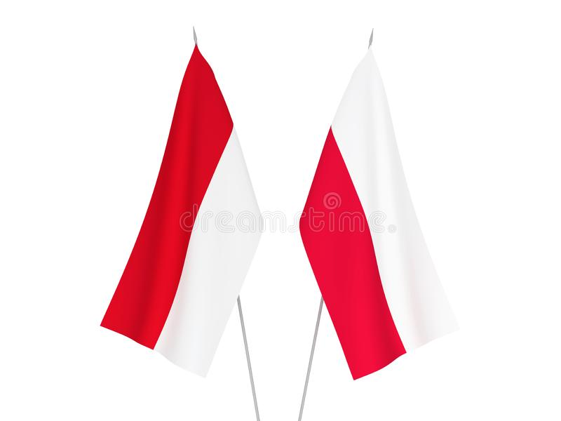 Indonesia and Poland flags. National fabric flags of Indonesia and Poland isolated on white background. 3d rendering illustration royalty free illustration