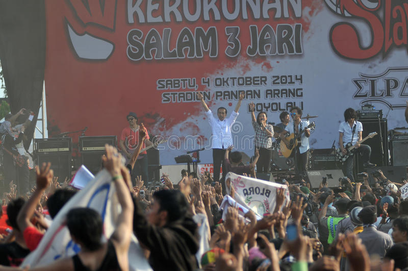 Indonesia Politics - A concert to celebrate The victory of Joko Widodo as presiden-elect. BOYOLALI, INDONESIA - October 04: Indonesian President elect, Joko stock photography