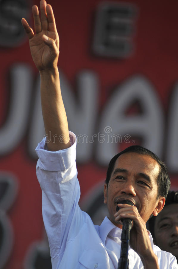 Indonesia Politics - A concert to celebrate The victory of Joko Widodo as presiden-elect. BOYOLALI, INDONESIA - October 04: Indonesian President elect, Joko royalty free stock photo