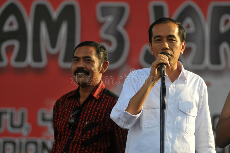 Indonesia Politics - A concert to celebrate The victory of Joko Widodo as presiden-elect. BOYOLALI, INDONESIA - October 04: Indonesian President elect, Joko stock photo