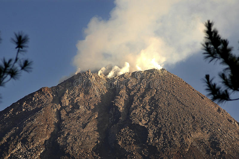 INDONESIA RING OF FIRE. The summit of Merapi Volcano of Java, Indonesia. The volcanoes in Indonesia are among the most active of the Pacific Ring of Fire. The stock images
