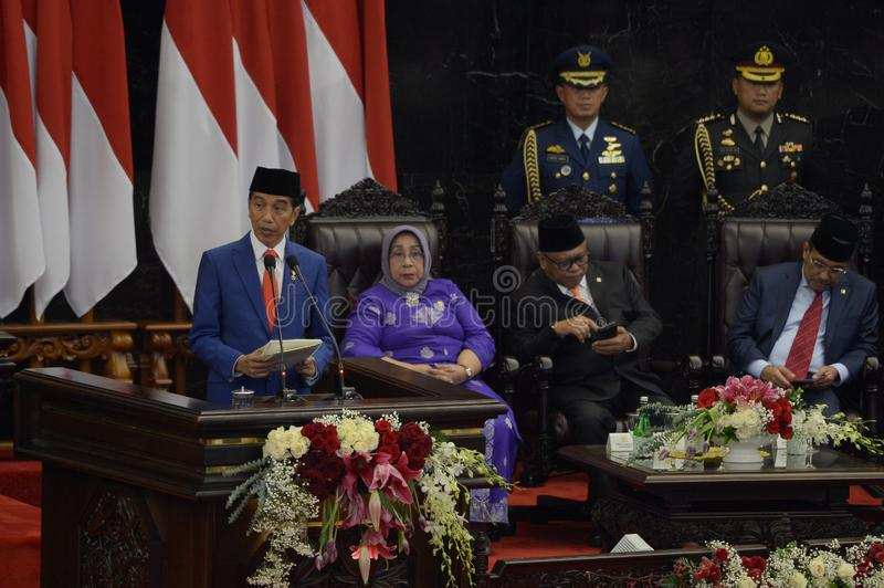 Indonesia & President Joko Widodo gives his state-of-the-nation address at a general assembly at parliament in Jakarta stock photo