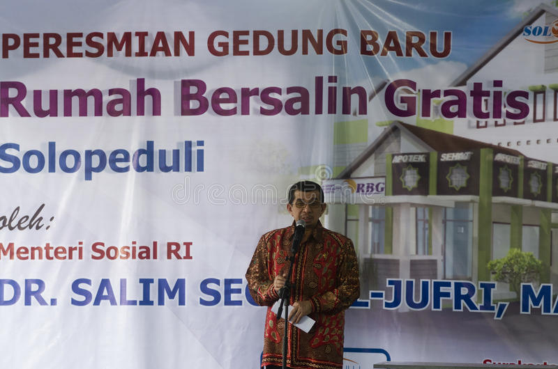 INDONESIA SOCIAL WELFARE DISTRIBUTION. Former Minister of Social Welfare of Indonesia, Salim Segaf Al Jufri. Indonesia is still struggling to equalize its social royalty free stock photography