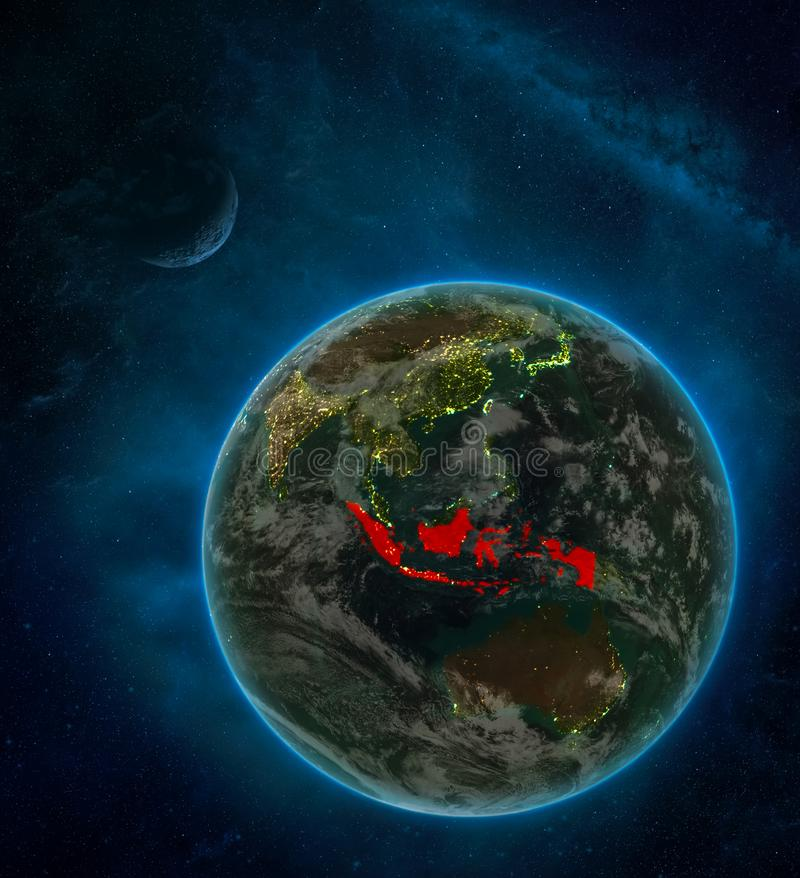 Indonesia from space on Earth at night surrounded by space with Moon and Milky Way. Detailed planet with city lights and clouds. 3D illustration. Elements of royalty free illustration