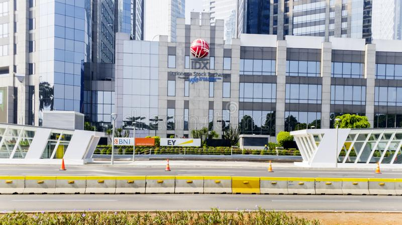 Indonesia Stock Exchange building with MRT station. JAKARTA - Indonesia. June 21, 2019: Facade of Indonesia Stock Exchange building with new MRT station in South stock photo