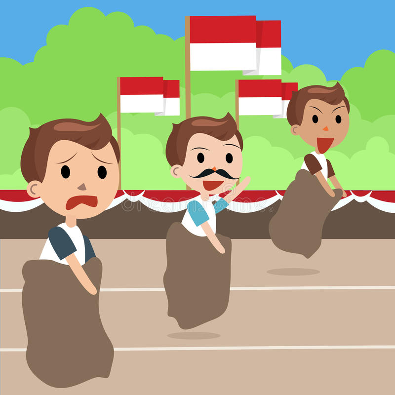 Indonesia traditional special games during independence day, man racing inside bag. Vector vector illustration
