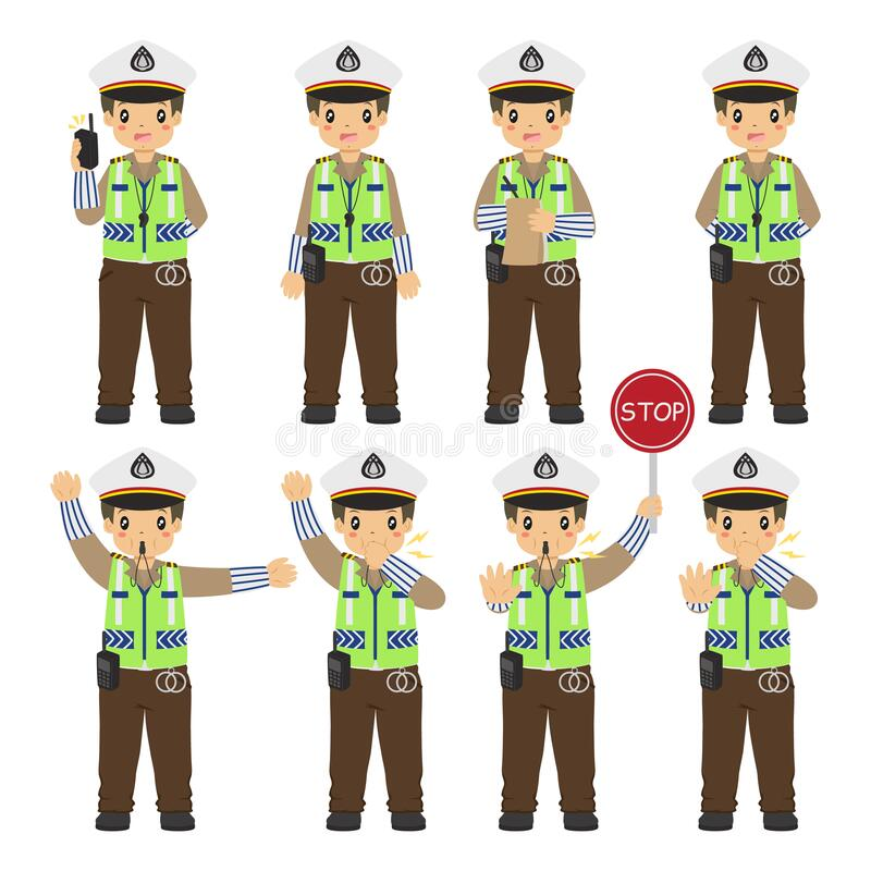 Free Indonesia Traffic Police Character Vector Collection Royalty Free Stock Photos - 187267538