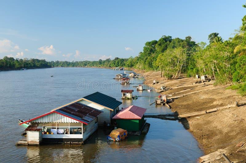 Indonesia - Village on the Mahakam river, Borneo stock photography