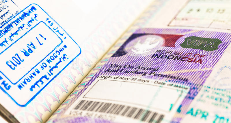 Indonesia Visa stock photos