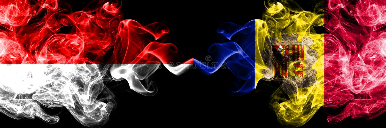 Indonesia vs Andorra, Andorran smoky mystic flags placed side by side. Thick colored silky smoke flags of Indonesia and Andorra,. Andorran stock illustration