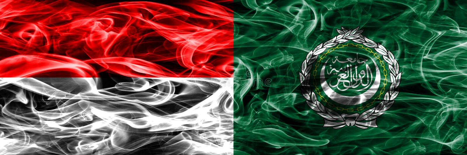 Indonesia vs Arab League smoke flags placed side by side. Thick stock photography