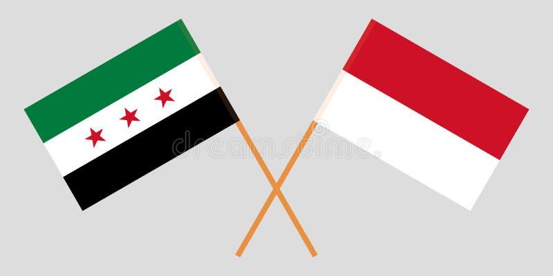 Indonesia y gobierno provisional de Siria Las banderas indonesias y de la coalición Colores oficiales Proporci?n correcta Vector ilustración del vector