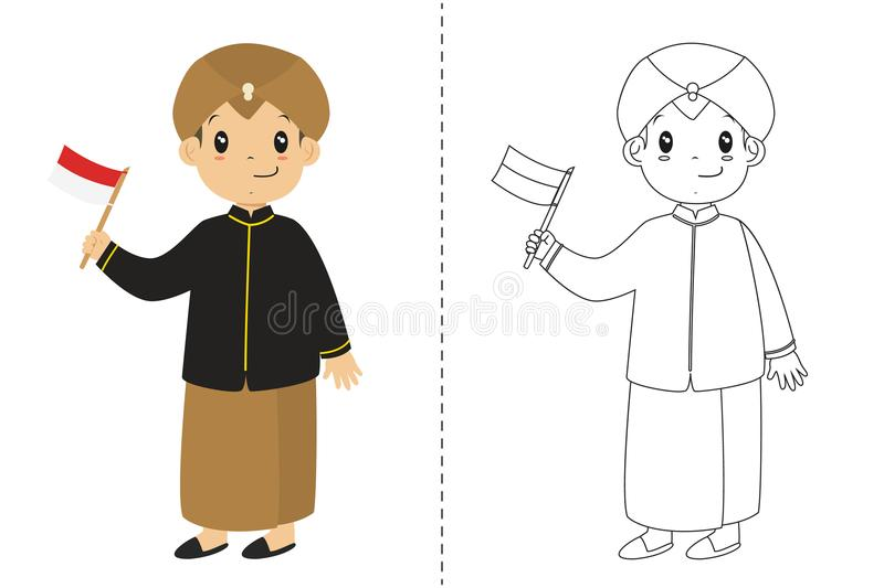 Indonesian Boy Wearing Javanese Traditional Dress. Outline Cartoon Vector for Coloring Page. Indonesian boy wearing Javanese traditional dress and holding an stock illustration