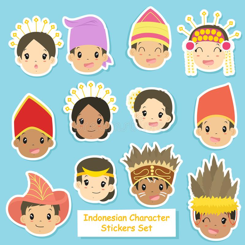 indonesian character stickers vector set stock vector illustration