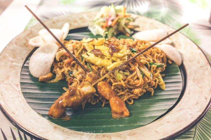 Indonesian chicken satay or Sate Ayam. Indonesian balinese traditional food. Bali island. royalty free stock photos