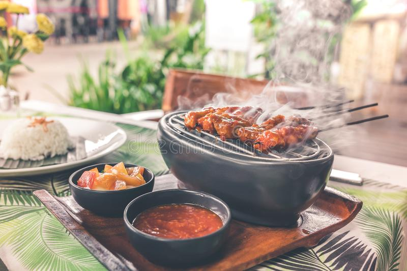 Indonesian chicken satay or Sate Ayam. Indonesian balinese traditional food. Bali island. Asia royalty free stock photos