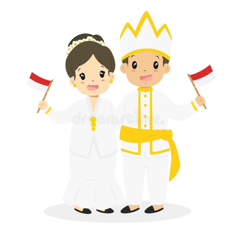 Indonesian Children Wearing North Sulawesi Traditional Vector. Happy Indonesian children wearing North Sulawesi traditional dress and holding Indonesian flags stock illustration