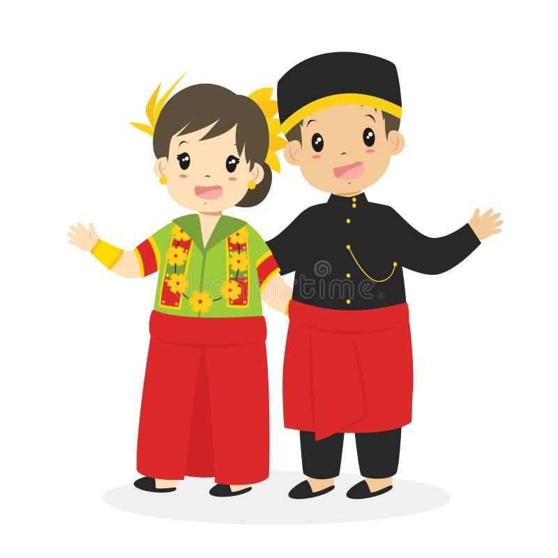 Indonesian Children Wearing West Sulawesi Traditional Vector. Happy Indonesian children wearing West Sulawesi traditional dress and waving their hands cartoon stock illustration