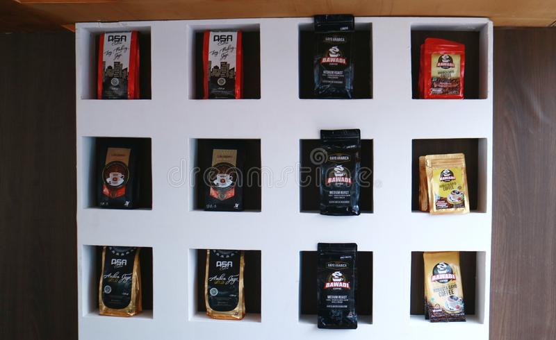 Indonesian Coffee Display stock images