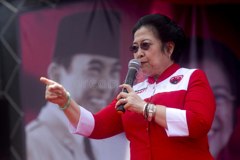 INDONESIAN DEMOCRATIC PARTY OF STRUGGLE PROFILE. A political campaign held by Indonesian Democratic Party of Struggle in Central Java, Indonesia. The Indonesian royalty free stock image