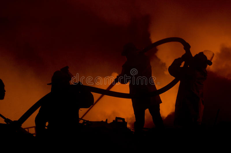 INDONESIAN FIRE FIGHTERS stock images