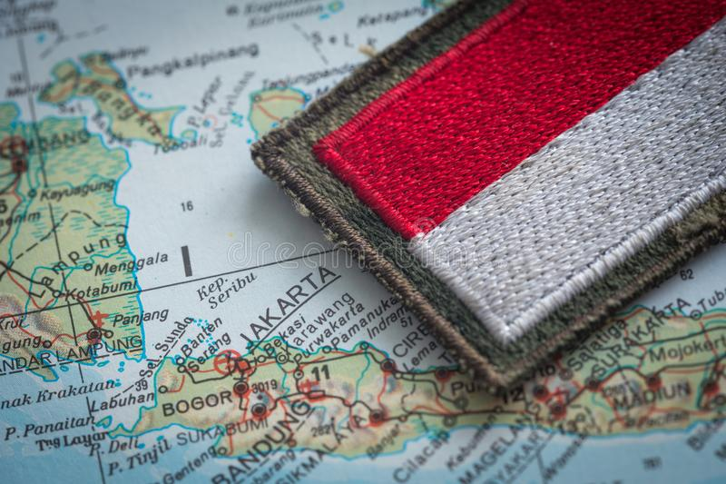 Indonesian flag on the background of the indonesia map stock image download indonesian flag on the background of the indonesia map stock image image of java gumiabroncs Images