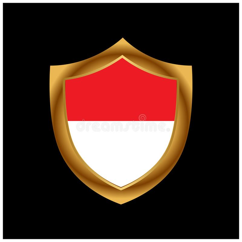 Indonesian flag and gold shield. Stock icon. Vector Illustration. EPS file available. Please see more images related vector illustration