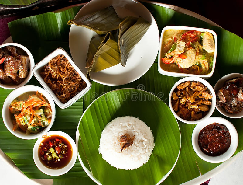 Indonesian food in Bali. Several curries and rice royalty free stock photos