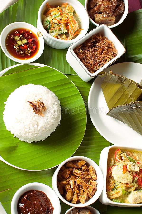 Indonesian food in Bali. Several curries and rice royalty free stock images