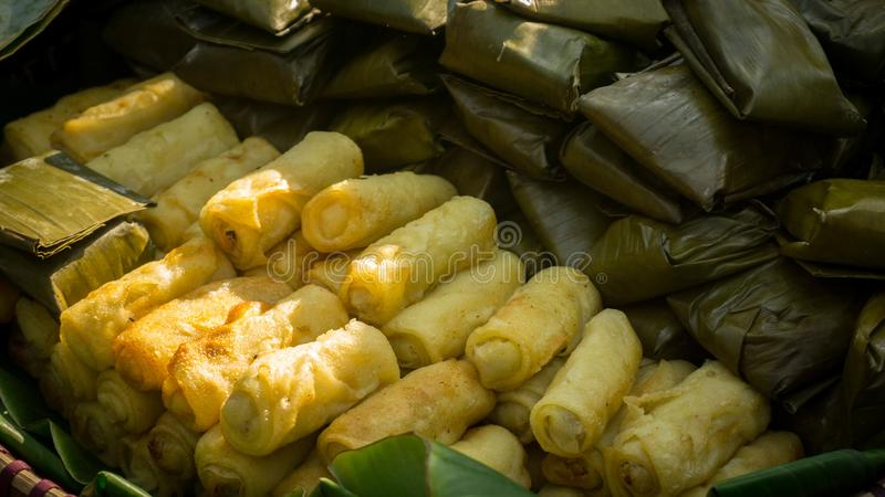Indonesian Food known as Risoles in traditional market stock images
