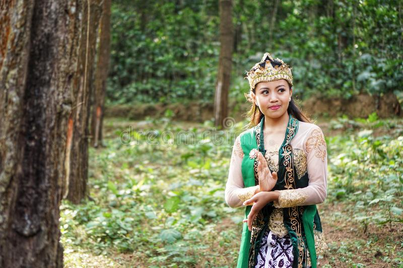Indonesian girl posing for a langger dance royalty free stock images