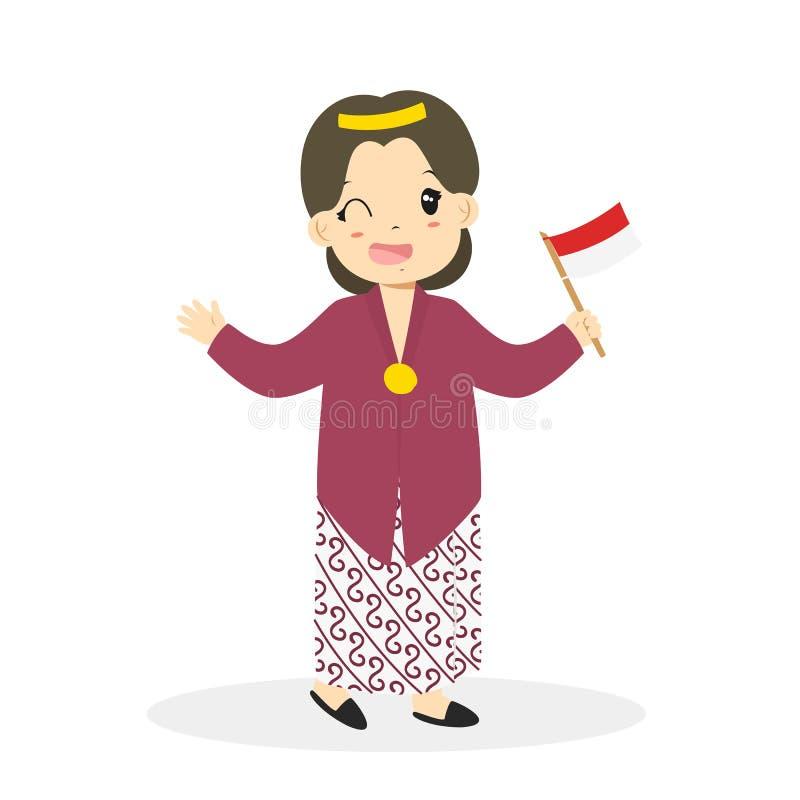 Indonesian Girl Wearing Jogjakarta Traditional Vector. Indonesian girl wearing Jogjakarta traditional dress and holding an Indonesian flag cartoon vector vector illustration