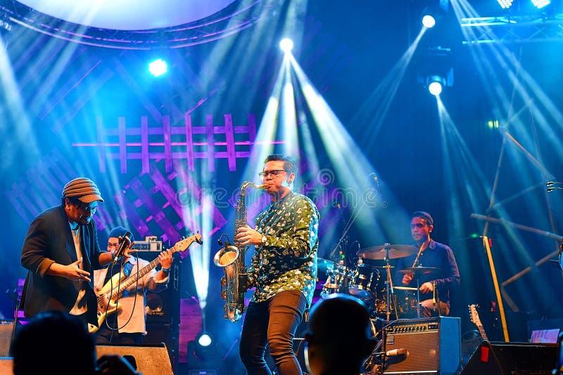 An Indonesian Band Performing Jazz Music At Kuching Waterfront Jazz Festival royalty free stock image