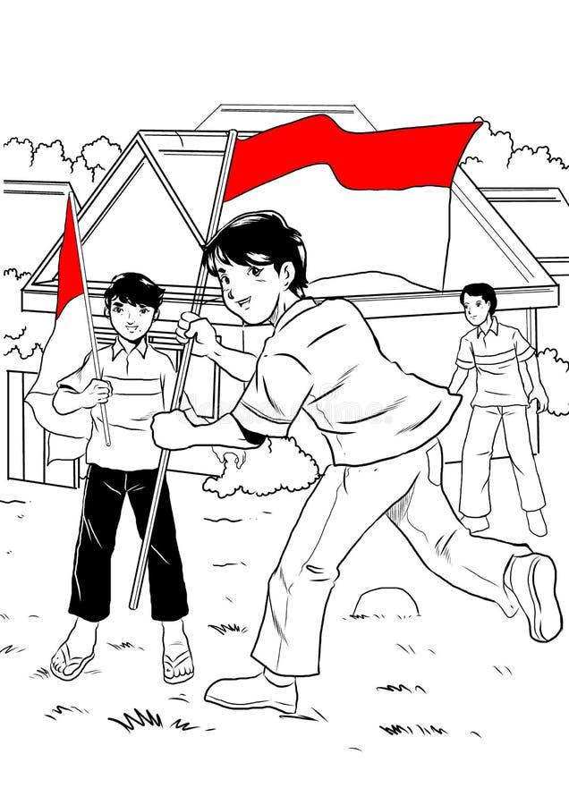 Indonesian kid celebrating independence day stock illustration