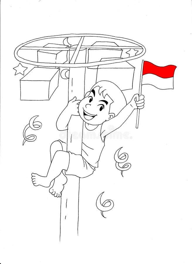 Indonesian kid celebrating independence day vector illustration