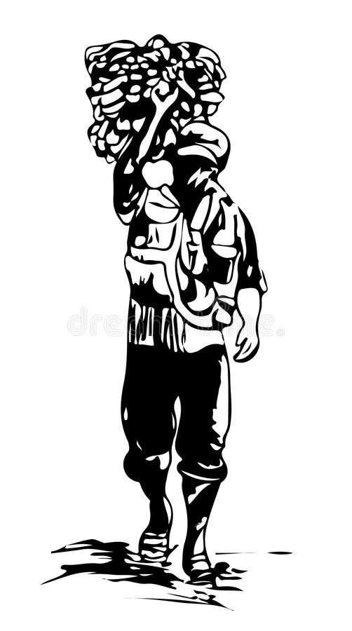 An Indonesian man walks as he carries goods on his back. Art sketch illustration vector illustration