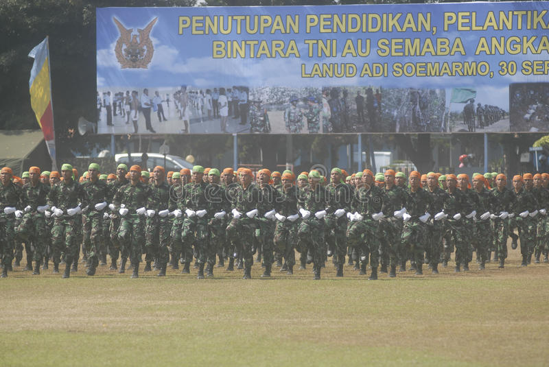 INDONESIAN MILITARY REFORM. The NCO inauguration of Indonesian Air Force, part of Indonesian Armed Forces (TNI), at Adi Soemarmo Airbase, Solo, Java, Indonesia royalty free stock photos