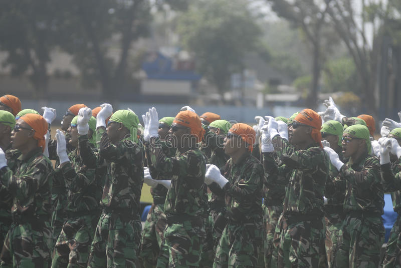 INDONESIAN MILITARY REFORM. The NCO inauguration of Indonesian Air Force, part of Indonesian Armed Forces (TNI), at Adi Soemarmo Airbase, Solo, Java, Indonesia stock photos