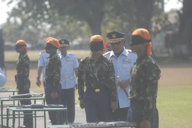 INDONESIAN MILITARY REFORM. The NCO inauguration of Indonesian Air Force, part of Indonesian Armed Forces (TNI), at Adi Soemarmo Airbase, Solo, Java, Indonesia royalty free stock images