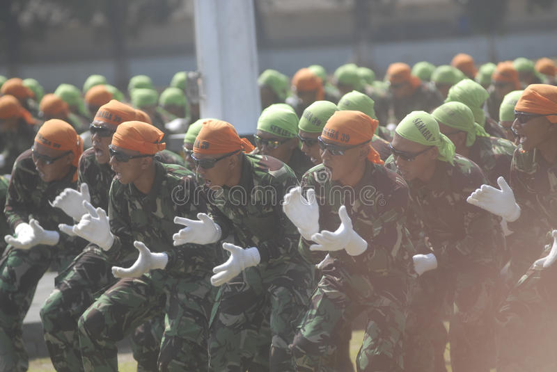 INDONESIAN MILITARY REFORM. The NCO inauguration of Indonesian Air Force, part of Indonesian Armed Forces (TNI), at Adi Soemarmo Airbase, Solo, Java, Indonesia stock photography